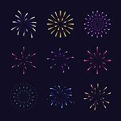 Set of colorful fireworks in different styles. Design element for new year festivals and celebrations.Vector illustration.