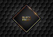 Black Friday banner. Golden text on black square with gold frame. Black luxury pattern hexagonal geometric background. Vector illustration.