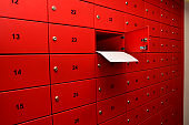 Red Post Box with Number Images, envelope