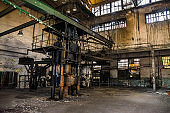 interior of the Gdansk shipyard hall in Poland, industrial view