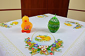Easter holidays, decorative tablecloth, Chicken