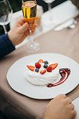 tasty sweet australian dessert on white plate