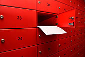 Red Post Box with Number Images, envelope, letter