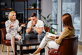 young couple came to psychologist for consultation