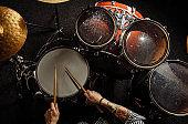 professional drummer play drums in studio