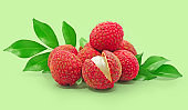 Lychee, litchi fruits isolated cut out on empty background