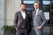 portrait of confident business partners outdoors