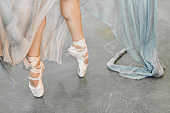 Close up view of elegant ballerina standing on toes in pointes