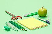 School supplies. Felt pen, color pencils, notebook, apple and scissors.