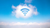 Cloud technology icon for global business concept on the sky