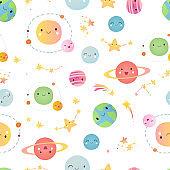 Space. Seamless pattern.