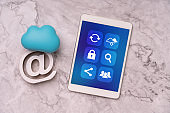 Cloud technology icon on smart phone for online shopping global business concept