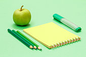 School supplies. Color pencils, notebook, felt pen and apple on the green background.