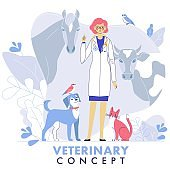 Veterinary concept with livestock animals, pets and doctor in vet clinic.