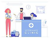 Veterinary concept with animal patient and doctor in reception vet clinic.