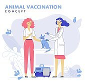Veterinary  vaccination concept with animal and doctor in vet clinic for immunity health.