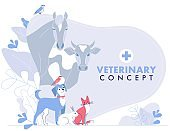 Veterinary concept with group livestock animals and domestic pets in vet clinic.