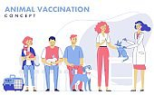 Veterinary  vaccination concept with animals and doctor in vet clinic for immunity health.