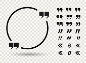 Quotation mark icon set and a circle frame with shadow on a transparent background, vector illustration.