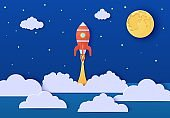 Red rocket launch in space in paper cut style. Galaxy landscape 3d craft background. Cardboard cutout Moon planet cloudy landscape. Vector kids card illustration. Paper art smoke and fog spacescape.