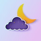 Night sky in cloud frame paper cut style. Cut out 3d violet and blue gradient background with golden stars on rope and crescent moon papercut art. Cute origami cloudscape. Vector good night card.