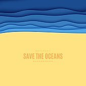 Abstract square background in cut paper style. Cutout blue sea wave and beach sand template for for save the Earth posters, World Water Day, eco brochures. Vector water applique illustration.