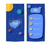 Solar system flyers in paper cut style. Cartoon planets, red polygonal rocket and origami UFO. 3d vector brochures with flying saucer in starry night sky, Cute children's card of paper craft galaxy.