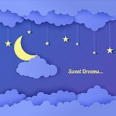Night sky in paper cut style. 3d background with dark cloudy landscape with stars and moon papercut art. Garland with stars. Cute cardboard origami clouds, vector card for wish good night sweet dreams