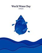 Abstract water drop in cut paper style. Cutout sea wave template for for save the Earth posters, World Water Day, eco brochures, logo. Vector blue waterdrop splash applique card illustration