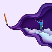 Man on a ladder to pick the star above cloud in paper cut style. Papercut paintbrush draw cutout businessman climbing on ladder to sky and trying to catch dream star. Vector motivational poster.