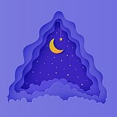 Night sky clouds triangular frame with star on rope and moon in paper cut style. Cut out 3d background with crescent and cloudy landscape papercut art. Vector card for wish good night sweet dreams