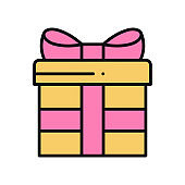 Gift box with ribbon in line style. Present, giftbox. Party, celebration, birthday, holidays theme. Vector illustration.