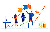 Business people working with puzzles, Business concept illustration