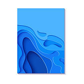 Abstract vertical blue flyer in cut paper style. Cutout sea wave template for for save the Earth posters, World Water Day, eco brochures. Vector water applique card illustration.