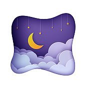Night sky clouds frame like pillow with gold stars on rope and moon in paper cut style. Cut out 3d background with crescent and cloudy landscape papercut art. Vector card for wish good night.