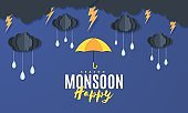 Rain umbrella and clouds in the paper cut style. Vector storm weather concept with thunderstorm falling water drops from the cloudy night sky. Monsoon sale storm horizontal banner template.