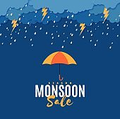 Rain thunder lightning umbrella and clouds in the paper cut style. Vector storm weather concept with falling water drops from the cloudy sky and flash. Monsoon sale storm horizontal banner.