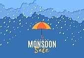 Rain umbrella and clouds in the paper cut style. Vector storm weather concept with falling water drops from the cloudy sky. Monsoon sale storm horizontal banner template.