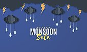 Clouds and raindrops hang on a rope in the style of paper cut. Vector stormy weather concept with raindrops of water falling from a thunderstorm from a cloudy night sky. Monsoon sale banner template