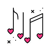 Music notes with hearts line icon. Disco, dance, nightlife, club, party theme. Happy Valentine day sign and symbol.