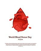 World Blood Donor Day 14 June vector background. Paper art poster with red blood drop paper on white background. Vector medicine 3d illustration. Creative donor or Hemophilia day banner