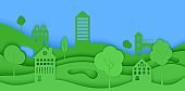 Cutout paper trees and building green wave and blue sky. Template in cut paper style for save the Earth posters, city ecology brochures, ienvironmental Protection. Vector horizontal illustration