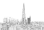 Sketch City of London business area view in 2020. Financial district with banks, office buildings. London, UK