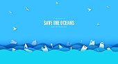 Stop ocean plastic pollution banner design template in paper cut style. Vector