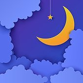 Night sky in paper cut style. 3d background with blue cloudy landscape with star on rope and moon papercut art. Cute cardboard origami clouds. Vector card for wish good night sweet dreams.