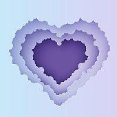 Valentine cut out 3d background with violet blue gradient cloudy landscape papercut art. Night sky clouds heart frame in paper cut style. Vector cut out cardboard Valentines card. Lovely gift.