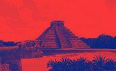 Monochrome image of Mayan pyramid in Yucatan, Chichen Itza