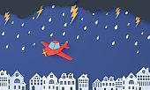 Red airplane flying in the storm over houses in the paper cut style. Rain thunder lightning clouds and city buildings. Vector rainy weather concept template for autumn monsoon sale banner.