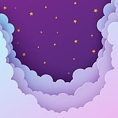 Night sky flyer in paper cut style. Cut out 3d background with violet and blue gradient cloudy landscape with stars papercut art. Cute origami clouds. Vector card for wish good night sweet dreams.