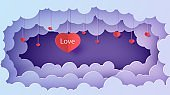 Valentine cut out 3d background with violet blue gradient cloudy landscape papercut art. Night sky clouds rectangular frame with hearts on rope in paper cut style. Vector Valentines card. Lovely gift
